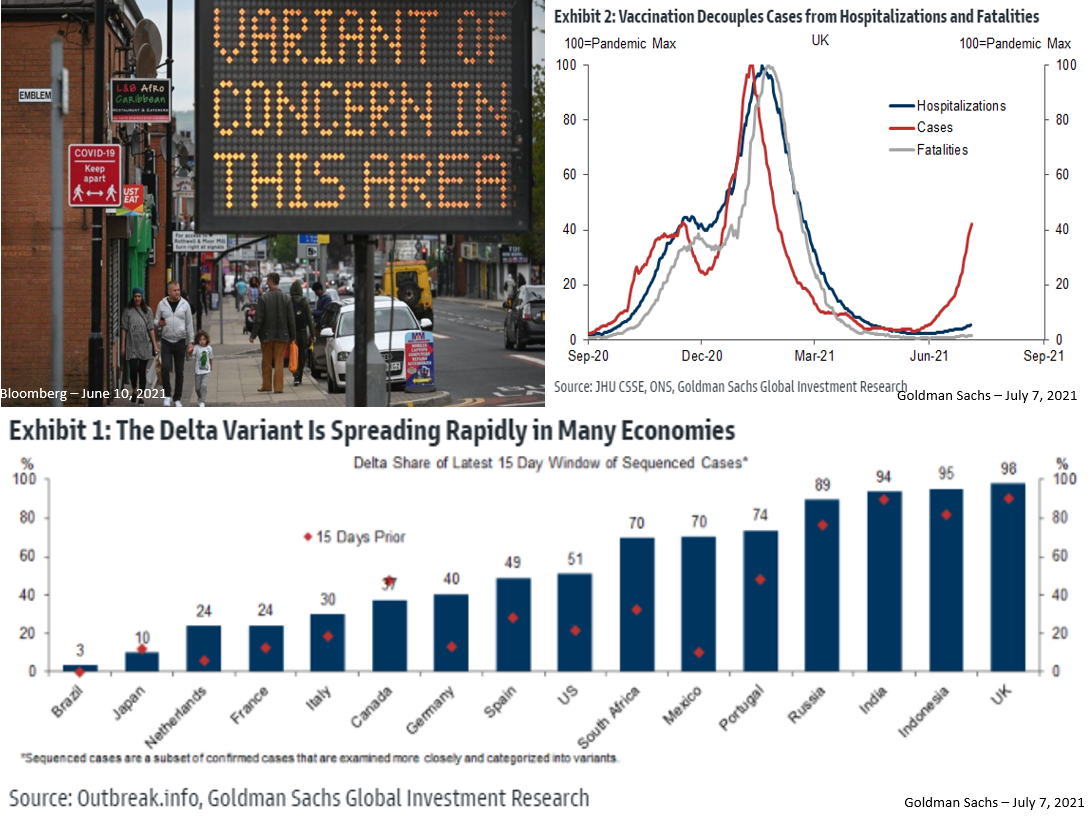Graphs illustrating the pandemic is being overtaken by the newer, and deadlier, Delta variant.